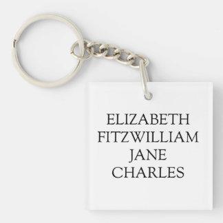 Main Characters Pride and Prejudice Jane Austen Keychain
