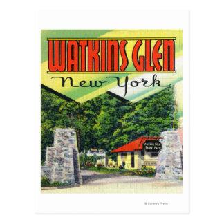 Main Entrance View to Watkins Glen State Park Postcard