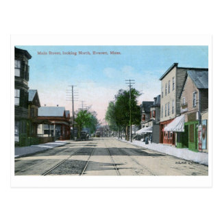 Main St., Everett, Massachusetts Vintage Postcard