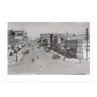 Main St Moose Jaw Saskatchewan Vintage Post Card