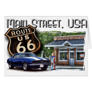 Main Street USA with Muscle car Card
