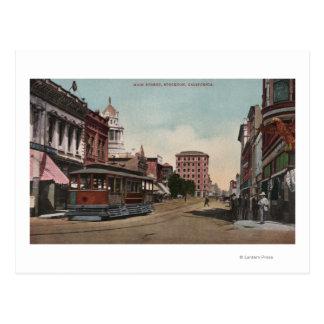 Main Street View with Street Car Postcard