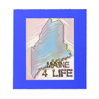 """Maine 4 Life"" State Map Pride Design Notepad"