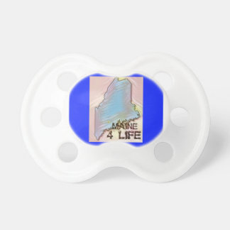 """Maine 4 Life"" State Map Pride Design Pacifier"