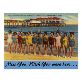 Maine, Bathing Beauties, Old Orchard Beach Postcard