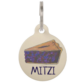 Maine Blueberry Blue Berry Pie Slice Dessert Food Pet Tag