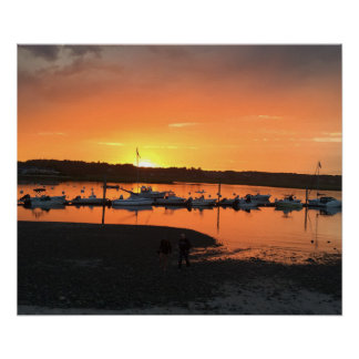 Maine boats docked poster