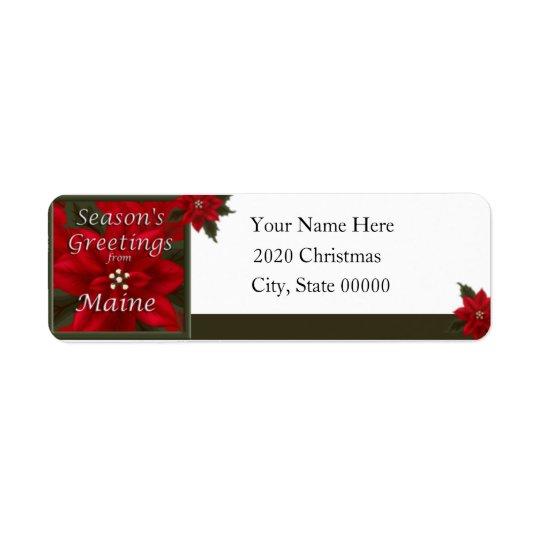 Maine Christmas Poinsettia Return Address Label