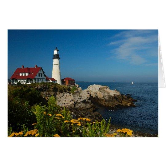 Maine Coast Seascape - Portland Head Lighthouse Card