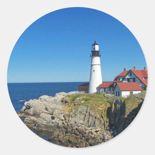 Maine Coastal Lighthouse Round Sticker