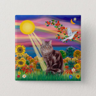 Maine Coon Cat 10 - Autumn Sun 2 Inch Square Button