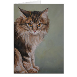 Maine Coon Cat Art Greeting Card