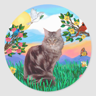 Maine Coon Cat  - Bright Life Round Sticker