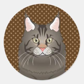 Maine Coon Cat Cartoon Paws Classic Round Sticker