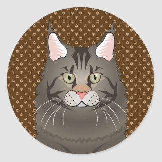 Maine Coon Cat Cartoon Paws Round Sticker