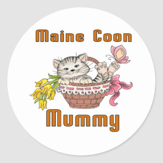 Maine Coon Cat Mom Round Sticker