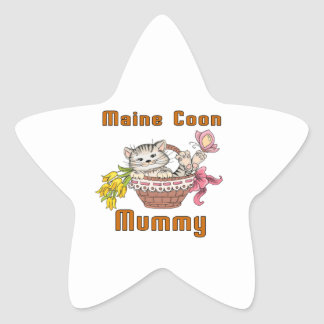 Maine Coon Cat Mom Star Sticker