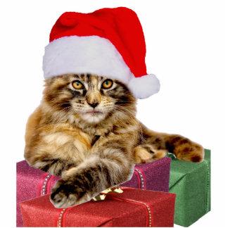 "Maine Coon Cat Santa & Gifts 2""x3"" Ornament Cutout Photo Sculpture Ornament"