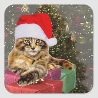 Maine Coon Cat Santa & Gifts Christmas Tree Behind Square Sticker