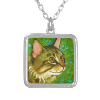 Maine Coon Cat with Mistletoe Silver Plated Necklace