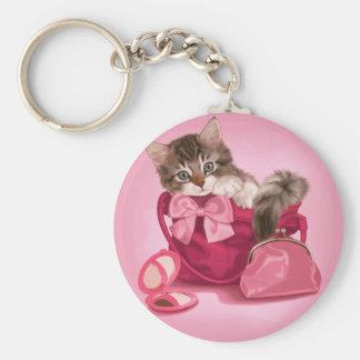 Maine coon in pink handbag basic round button keychain