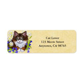 Maine Coon Kitten in Flowers Address Labels