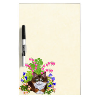 Maine Coon Kitten in Flowers Dry Erase Board