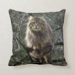 Maine Coon Long-hair Tabby Cat Animal Pet Throw Pillow