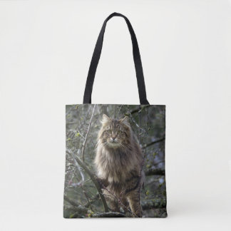 Maine Coon Long-hair Tabby Cat Tote Bag
