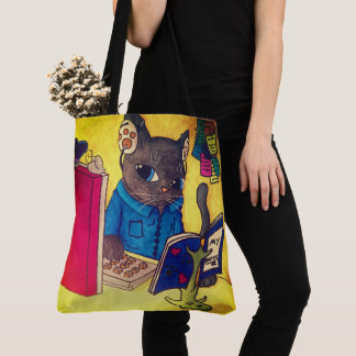 Maine Coon Writer Cat by Acrylic Cats Tote Bag