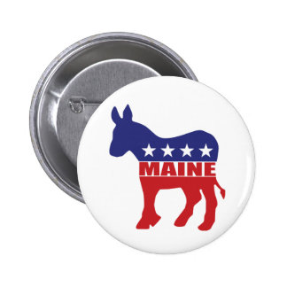 Maine Democrat Donkey Pinback Buttons