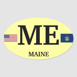 Maine* Europea-style Oval Sticker