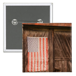 Maine, Faded American flag on door of old barn 2 Inch Square Button
