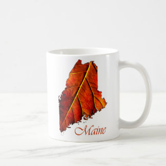 Maine Fall Foliage Orange Colored Leaf Coffee Mug