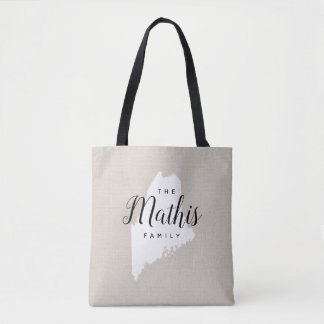 Maine Family Monogram State Tote Bag