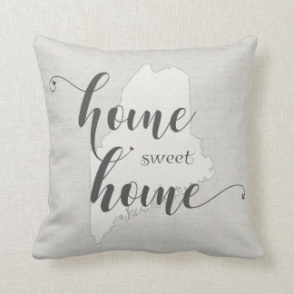 Maine - Home Sweet Home burlap-look Throw Pillow