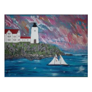 Maine Lighthouse Painting Postcard
