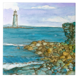 Maine Lighthouse Rocky Coastline Ocean Tile