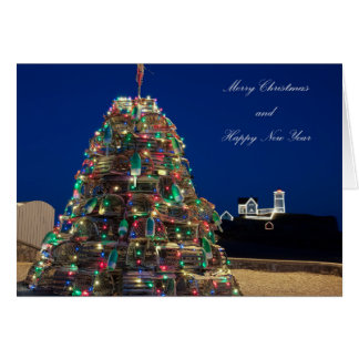 Maine Lobsta Trap Nubble Light Christmas Card