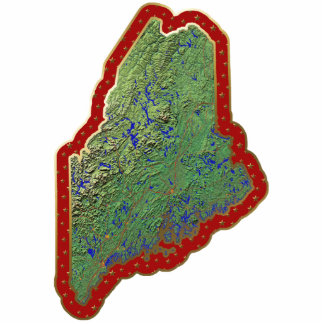 Maine Map Christmas Ornament Cut Out