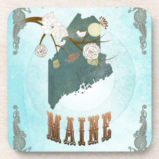 Maine Map With Lovely Birds Beverage Coaster