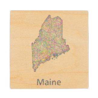 Maine map wood coaster