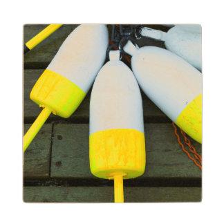 Maine, Mt. Desert Island, Bernard, lobster buoys 1 Maple Wood Coaster