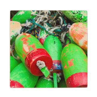 Maine, Mt. Desert Island, Bernard, lobster buoys 2 Wood Coaster