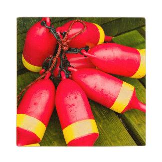 Maine, Mt. Desert Island, Bernard, lobster buoys 3 Maple Wood Coaster