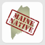Maine Native Stamped on Map Stickers