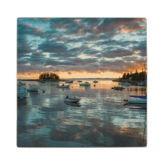 Maine, Newagen, sunset harbor 1 Wood Coaster