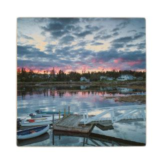 Maine, Newagen, sunset harbor 2 2 Maple Wood Coaster