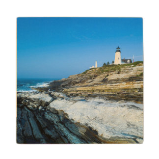 Maine, Pemaquid Point, Pemaquid Point Lighthouse Maple Wood Coaster