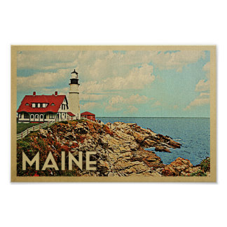 Maine Poster Vintage Travel Lighthouse Poster